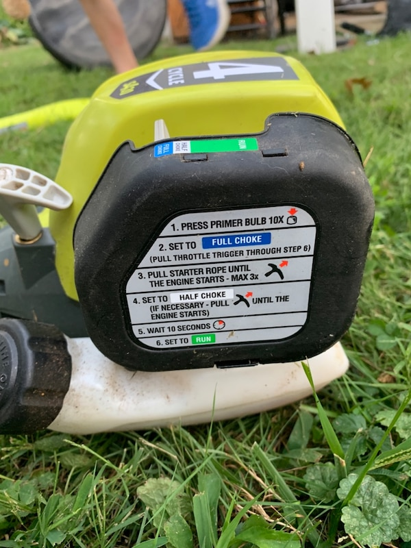 Ryobi 4 cycle weed trimmer - Weedwhacker. Only 8 months out. ed7cbcf9-6ee6-40f2-8cf8-4ab37fdecf25