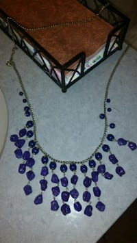 Necklace - Purple with Gold Accent, chunky Boston