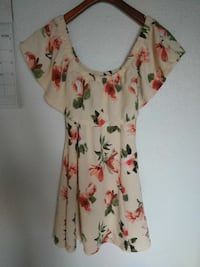 women's white, green and red floral off-shoulder dress