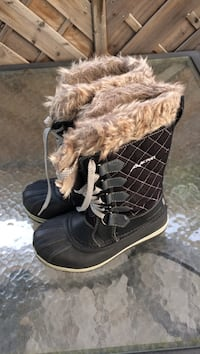 pair of black-and-brown fur boots