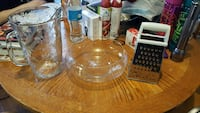 clear glass bowl ; clear glass mug ; silver grater Lansing, 48915