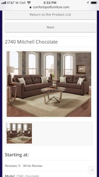 2740 Chocolate Sofa and Love  Mesquite