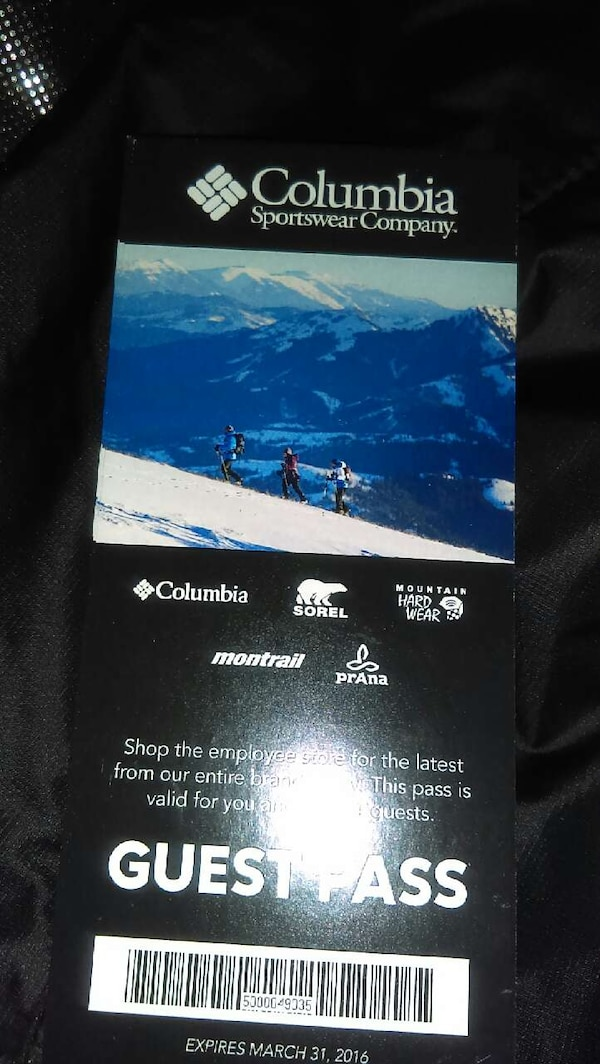 Used Columbia Sportswear Employee Store Passes For Sale In Portland