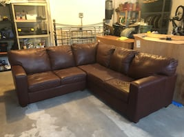 Sectional Brown Leather Sofa
