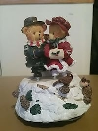Musical two bears in snow ceramic figurine
