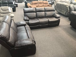 New Reclining Couch Sofa Set. Brown Leather. Delivery  included