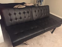 Like New Black Leather Futon Burke