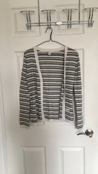 white and gray striped button-up cardigan Toronto, M2R 3A8