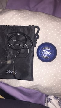 Black ihome drawstring bag and blue blue light portable speaker Edmonton, T6B