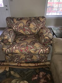 Overstuffed paisley chair Burke