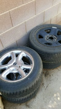 gray 5-spoke car wheel with tire set Las Vegas, 89117