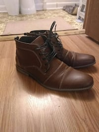 pair of brown leather lace-up heeled boots Orono, 04473
