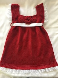 Unique hand maid knitted red dress with white lace and white bow on the back Skokie, 60077