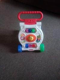 white and red Fisher-Price  push walker