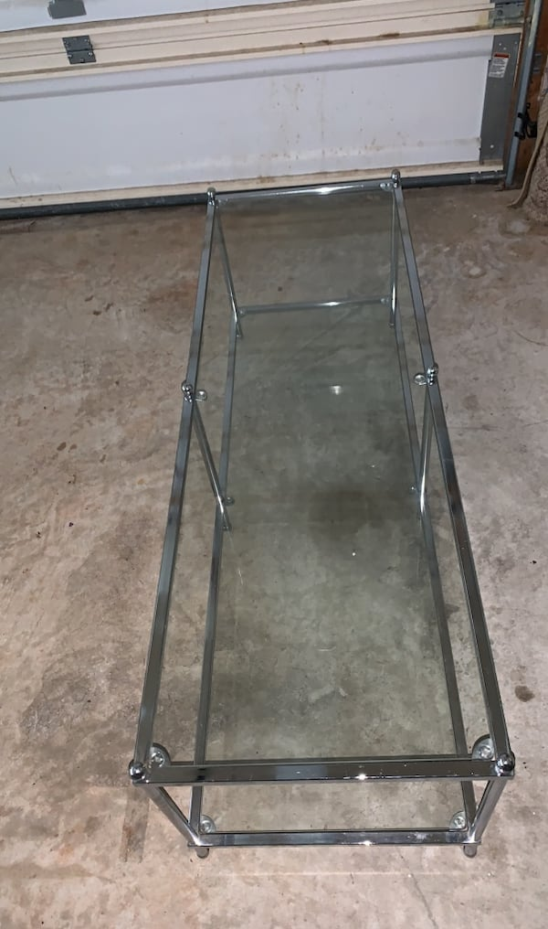 Two Glass Shelf/Chrome Coffee Table e11f9006-17fa-4d44-89f9-601f2fffe290