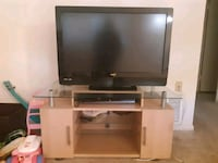 black flat screen TV; white wooden TV stand Baltimore, 21234