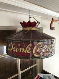 Drink coca cola white, red, and black stained glass round pendant lamp Hagerstown, 21740