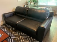 Large Black leather Couch, It has some damage on the back side. Perfect for the broke college student. Salt Lake City, 84102
