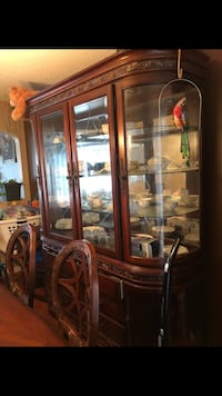brown wooden framed glass display cabinet Richmond, V6V