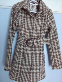 women's brown and white hounds tooth trench coat TORONTO