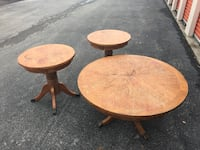 Oak Coffee table and two end stands. Columbus, 43232