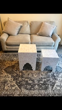 "Living room furniture set large beige sofa 2 pillows 2 tile mosaic tables 5x7"" beige brown rug click on my emoji profile picture for more listings message me if you interested pick up in Gaithersburg Maryland 20877 all sales final Gaithersburg, 20877"