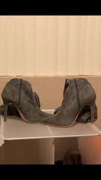 pair of gray suede chunky heeled booties Patterson, 95363