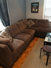 brown suede sectional sofa with throw pillows Falls Church, 22042