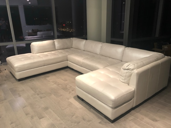 Used Off White Light Grey Leather Sectional For Sale In Chicago Letgo
