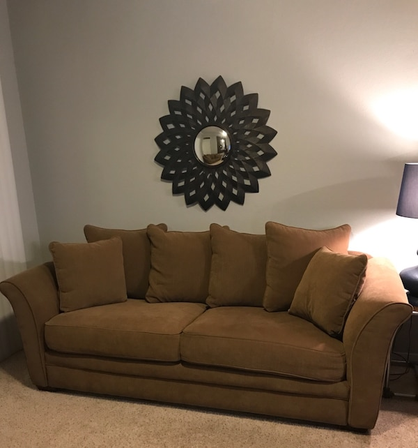 Pleasant Light Brown 2 Piece Fabric Sofa Caraccident5 Cool Chair Designs And Ideas Caraccident5Info