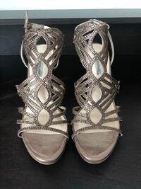pair of silver open toe ankle strap heels San Diego, 92103