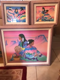 3 southwest lady's with pots large one in canvas  Homestead, 33032