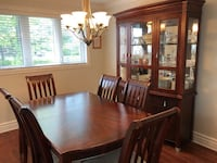 rectangular brown wooden table with six chairs dining set Dollard-des-Ormeaux, H9A 2B3