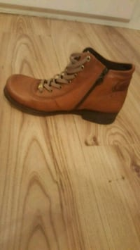 brown leather side-zip lace-up boots Luton