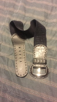 Black and gray leather belt Kinsey, 36303