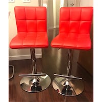 Two red leather bar stools Vancouver, V5P