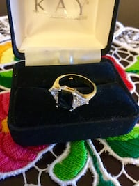 Ring size #5  Vermeil gold ring / Gold over silver & large crystal and navy blue Onyx gemstone