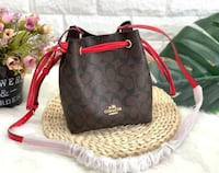 NEW Brown Coach Bag Lena Crossbody With Red Straps