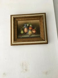 apple and pear painting with brown wooden frame