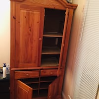 Brown wooden cabinet with hutch Burnaby, V5B 4S5