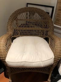 Wicker Chair and Matching Side Table