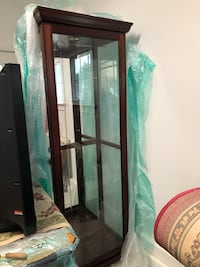 brown wooden framed glass display cabinet Port Jefferson Station, 11776