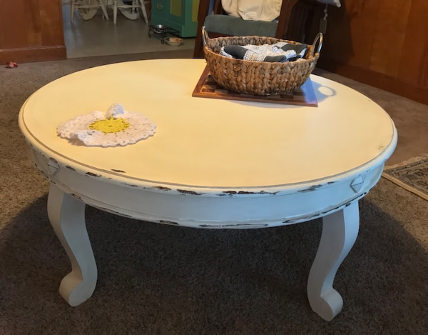 Superb Round White Coffee Table Painted Waxed And Distressed Dailytribune Chair Design For Home Dailytribuneorg