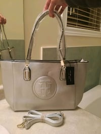 Silver leather Tommy tote bag