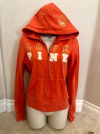 Vibrant orange Pink Zip Up Hoodie. Sz Small in excellent condition. Las Vegas, 89135