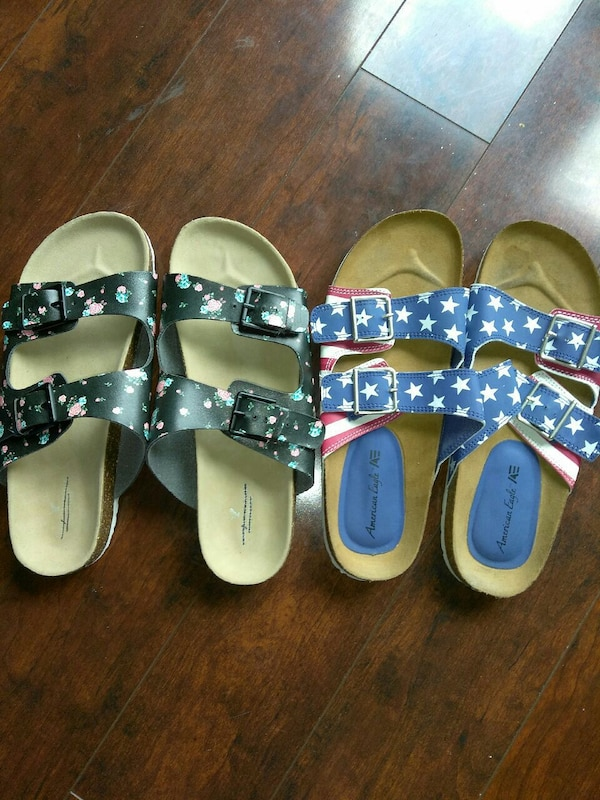 465fed8e0e6b Used pair of American Eagle U.S.A. flag and black-pink-brown floral  Birkenstock style sandals for sale in Cape May County