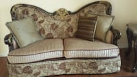 brown and white floral fabric loveseat Ajax, L1T