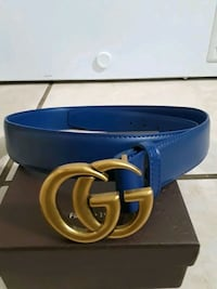 blue leather belt with gold buckle Uniontown, 36786