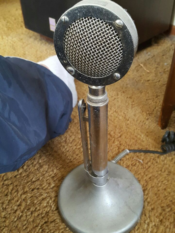 gray and black vintage microphone