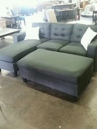 Small Black Sectional with ottoman